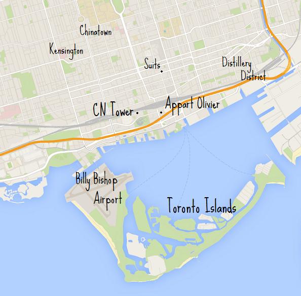 Carte Toronto avec noms