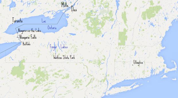 Carte vierge road-trip Toronto + noms